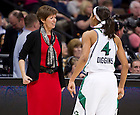 Apr. 1, 2012; Skylar Diggins and Head Coach Muffet McGraw celebrate in the closing seconds of Notre Dame's 83-75 overtime win over UConn in the Women's Final Four at the Pepsi Center in Denver, CO...Photo by Matt Cashore/University of Notre Dame