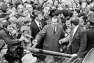 22 Oct 1972 --- Republican President Richard Nixon campaigning in the New York suburbs with his wife Thelma Catherine Patricia Ryan Nixon for re-election against the Democratic candidate Senator George McGovern for Presidency. --- Image by © JP Laffont