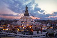 Boudhanath Stupa lit by butter lamps.