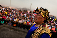 A Peruvian actor performs as Roman citizen in the Good Friday procession during the Holy week in Lima, Peru, 30 March 2013. The annual Passion Of Christ procession, held as part of Easter celebrations, starts in Lima downtown and, followed by thousands of catholic believers, it climbs to the top of the dry and rocky hill of San Cristobal, where Mario Valencia, who has been playing the role of Jesus Christ for more than 30 years, is symbolically crucified.