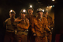 London, UK. 08.09.2014. LAND OF OUR FATHERS, by Chris Urch, directed by Theatre503's Paul Robinson, opens at the Trafalgar Studios. Picture shows: Patrick Brennan (Chopper), Taylor Jay Davies (Chewy), Joshua Price (Mostyn), Clive Merrison (Bomber) and Robert East (Hovis). Photograph © Jane Hobson