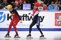 "SHORT TRACK: MOSCOW: Speed Skating Centre ""Krylatskoe"", 15-03-2015, ISU World Short Track Speed Skating Championships 2015, Quarterfinals 1000m Men, Jingnan SHI (#114   CHN), Semen Elistratov (#152   RUS), ©photo Martin de Jong"