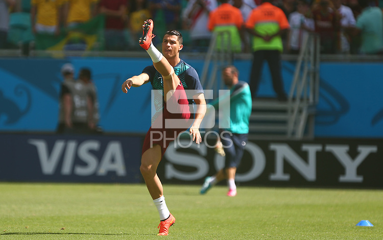 Cristiano Ronaldo of Portgual stretches during the warm up
