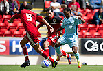 St Johnstone v Bristol City....28.07.12  Pre-Season Friendly.Trialist Keammar Daley is closed down by Lewin Myatanga and Greg Cunningham.Picture by Graeme Hart..Copyright Perthshire Picture Agency.Tel: 01738 623350  Mobile: 07990 594431
