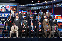 A group photo of the draft invitees with NFL commissioner Roger Goodell during 2012 NFL Draft at Radio City Music Hall in New York, NY, on April 26, 2012.
