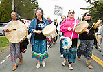 First Nations singers lead the Red Head March. On May 30, 2015, over 500 Canadian citizens and First Nations marched in Red Head, Saint John, at the End of the Line for the proposed Energy East pipeline. The people were protesting the proposed mega pipeline and the tank terminal that would destroy and the Red Head community and endanger the Bay of Fundy. If approved, TransCanada's Energy East pipeline would travel 4600km from Alberta to Saint John, New Brunswick, shipping 1.1 million barrels of crude oil and bitumen for export through the Bay of Fundy, a critical habit for Right whales and home to thousands of jobs in Tourism and Fishing.