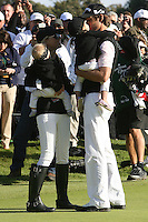 02/20/11 Pacific Palisades, CA: Aaron Baddeley with his wife Richelle and daughters Jewell and  Jolie during the final round of the Northern Trust Open held at the Riviera Country Club.Baddeley won the Tournament by two strokes over Vijay Singh.