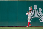 11 September 2016: Philadelphia Phillies outfielder and Baseball America top prospect Roman Quinn pulls in a deep fly ball during his major league debut game against the Washington Nationals at Nationals Park in Washington, DC. The Nationals edged out the Phillies 3-2 to take the rubber match of their 3-game series. Mandatory Credit: Ed Wolfstein Photo *** RAW (NEF) Image File Available ***