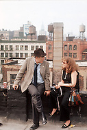New York, NY, July 1972. Anthony Quinn being interviewed during a break on a rooftop in Harlem. -  Across 110th Street is a 1972 American crime drama film directed by Barry Shear. Commonly associated with the blaxploitation genre at the time, it has received considerable critical praise for surpassing the limitations of that genre.