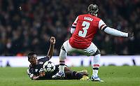 FUSSBALL  CHAMPIONS LEAGUE  ACHTELFINALE  HINSPIEL  2012/2013      FC Arsenal London - FC Bayern Muenchen       19.02.2013 David Alaba (li, FC Bayern Muenchen) gegen Bacary Sagna (re, Arsenal)