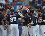 Mississippi catcher Miles Hamblin hits a solo home run vs. Alabama during the Southeastern Conference tournament at Regions Park in Hoover, Ala. on Thursday, May 27, 2010. Alabama won 6-3. (AP Photo/Oxford Eagle, Bruce Newman)