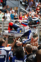 July 4, 2010 - Catalunya, Spain - Jorge Lorenzo celebrates his victory after the winning the Catalunya Grand Prix, Spain, on July 4, 2010. (Photo Andrew Northcott/Nippon News).