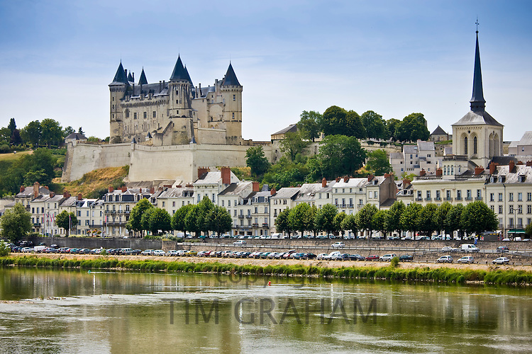 Saumur Chateau and the River Loire, in the Loire Valley, France