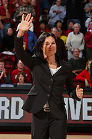 2 February 2008: Former Stanford Cardinal basketball player Jennifer Azzi during Stanford's 75-62 win against the UCLA Bruins at Maples Pavilion in Stanford, CA.