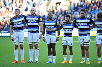 Semesa Rokoduguni and the rest of the Bath Rugby team look on during a minute silence. Aviva Premiership match, between London Irish and Bath Rugby on November 7, 2015 at the Madejski Stadium in Reading, England. Photo by: Patrick Khachfe / Onside Images