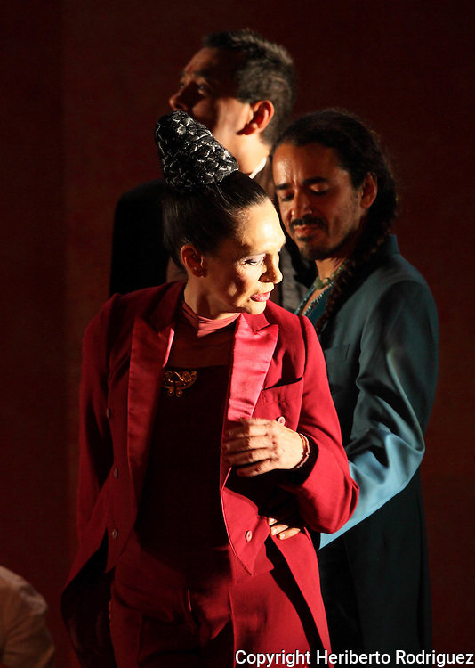 Mexican actress Ofelia Medina performs along with Ruben Albarran the play El Placer de Nuestra Lengua in the Mexico City's Julio Castillo theatre, April 01, 2011. Photo by Heriberto Rodriguez