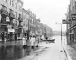 View of Bank Street near Meadow Street in Waterbury looking southwest on Black Friday.