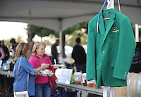 NWA Democrat-Gazette/ANDY SHUPE<br /> The coveted green jacket awaits the winner of the home brewery competition Saturday, Oct. 17, 2015, during the second St. Raphael Catholic Church Brewtober Chilifest in Springdale. The event gave attendees the chance to taste home-brewed beers and ciders and sample chili with awards going to the two winners as determined by a popular vote.
