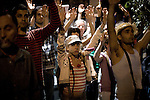 """Protest at the French Embassy for the evacuation of campers in the Place de la Bastille in Paris. General Assembly to decide the continuity of camping. The movement Real democracy now and 15 M """" appeared on 15 May, remain encamped in Puerta del Sol in Madrid to protest against the political and financial situation in Spain.///.Protesta ante la embajada de Francia por el desalojo de los acampados en la plaza de la  Bastilla en Paris. El movimiento """" Democracia real ya y 15 M """" surgido el 15 de mayo, acampa en la Puerta del Sol de Madrid en protesta por la situacion politico - finaciera en España. Photo by Jose Luis Cuesta"""
