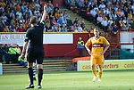 Motherwell v St Johnstone...11.08.12.Steven Hammell is sent off by ref Iain Brines.Picture by Graeme Hart..Copyright Perthshire Picture Agency.Tel: 01738 623350  Mobile: 07990 594431