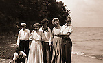 North East PA: Stewart Family Photograph, Peppy, Brady, Homer Sr, Alice Brady, Helen, Homer Jr and Margaret Gray, by Clark Stewart - 1904.   During the early 1900s, the Stewart family vacationed on Lake Erie near North East Pennsylvania. Since hotels and motels were non-existent, camping was the only viable option for a large number of vacationers