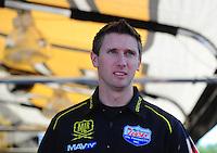 May 6, 2012; Commerce, GA, USA: NHRA top fuel dragster driver Morgan Lucas during the Southern Nationals at Atlanta Dragway. Mandatory Credit: Mark J. Rebilas-