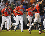 Ole Miss players celebrate 10-7 10 inning win vs. Auburn during the Southeastern Conference tournament at Regions Park in Hoover, Ala. on Friday, May 28, 2010.