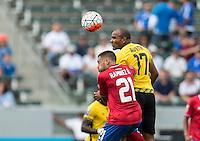 CARSON, CA - July 8, 2015: The 2015 Gold Cup match Costa Rica vs Jamaica at the StubHub Center . Final score, Costa Rica 2, Jamaica 2.