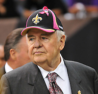 "New Orleans Saints owner Tom Bensonis seen wearing a Pink trimmed Saints cap for Breast Cancer Awareness Oct. 3,2010 prior to the Saints game against the Carolina Panthers. The NFL has gone ""Pink"" for October in honor of Breast Cancer Awareness. The Saints went on to win 16-14. John Carney kicked three field goals to help the Saints win. PHOTO©SuziAltman.com"
