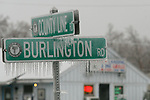 HARWINTON, CT - 7 January, 2009 -  010709MO01 -  Ice accumulated on street signs in Harwinton Wednesday afternoon. Jim Moore Republican-American.