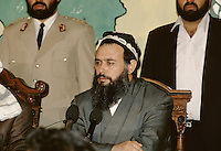 Leader of the United Tajik Opposition S.A. Nuri, at the meeting between Nuri and the Tajikistan president Rakhmonov, in a tentative of peace and reconciliation made by the Afghan President Borhan'udin Rabani in 1995 at the President palace in Kabul, Afghanistan..During 1992 to 1997, Tajikistan suffer civil war.