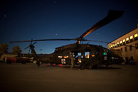 A US Army medevac helicopter prepares to take off on a mission from Bagram airfield.