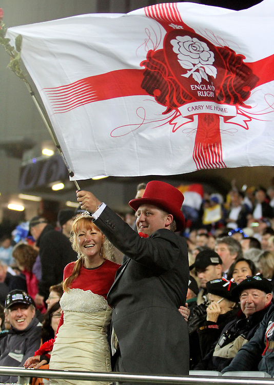 England fans and honeymoon couple, Emma-Louise and Alex Box  against France in their Rugby World Cup quarter-final match at Eden Park, Auckland,  New Zealand, Saturday, October 08, 2011. Credit:SNPA / John Cowpland