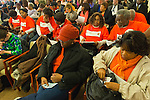 Feb. 25, 2013 - Mineola, New York, U.S. - IMembers, including 2nd row from right, JOE LOUIS BROWN and EUNICE REED, of the New York Community for Change organization, of Hemptead, attend Nassau County Legislature meeting to show they are against the controversial proposed Redistricting Map. The legislature postponed the vote on the map shortly before 1 AM the morning of February 26, nearly 12 hours after the meeting started on 1:30 PM Feb. 25.