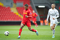 LIVERPOOL, ENGLAND - Easter Monday, April 1, 2013: Liverpool's Jordan Ibe in action against Tottenham Hotspur during the Under 21 FA Premier League match at Anfield. (Pic by David Rawcliffe/Propaganda)