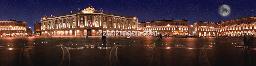 Capitole Toulouse France Square building At Dusk Full Moon Dramatic Buildings Lit Golden Glow People standing Stars CGI Backgrounds, ,Beautiful Background