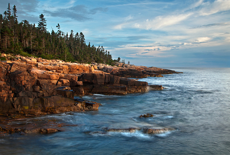 Waves roll into the Schoodic Peninsula's rugged western coastline in Acadia National Park, Maine, USA