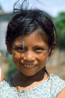 Girl from shanty town near port on Ucayali River in Pucallpa, Peru