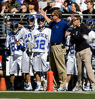 Duke head coach John Danowski works from the sidelines during the Face-Off Classic in at M&T Stadium in Baltimore, MD
