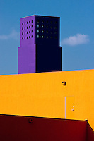 Colorful and distinctive architecture of the Latino Cultural Center in Dallas, Texas built in 2003 and designed by architect Ricardo Legorreta.