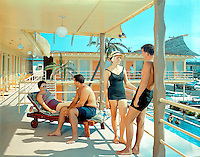 Tahiti Motel, Wildwood, NJ -  Couples on the sundeck. 1960's photograph.