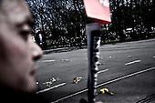 Krakow 18/04/2010 Poland<br /> People mourning the tragic death of President Lech Kaczynski and his wife in Krakow before funeral.<br /> on pictures: Bouquets of flowers tossed as the funeral cortege slowly drove by.<br /> Photo: Adam Lach / Napo Images for The New York Times<br /> <br /> Zaloba po tragicznej smierci Prezydenta Lecha Kaczynskiego i jego malzonki w Krakowie przed pogrzebem.<br /> na zdjeciu: bukiety kwiatow rzucane na kolumne z trumna prezydenta i Marii Kaczynskiej.<br /> Fot: Adam Lach / Napo Images for The New York Times