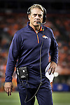 SHOT 10/19/14 7:33:47 PM - Denver Broncos defensive coordinator Jack Del Rio watches from the sidelines against the San Francisco 49ers at Sports Authority Field at Mile High Sunday October 19, 2014 in Denver, Co. The Broncos beat the 49ers 42-17.<br /> (Photo by Marc Piscotty / &copy; 2014)