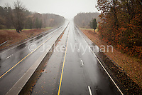 An empty section of Route 95 in Madison Connecticut during Hurricane Sandy. Route 95 is normally one of the busiest highways on the East Coast.