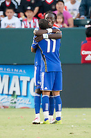 CARSON, CA – SEPTEMBER 19: KC Wizard midfielder's Kei Kamara (23) and Ryan Smith (11) celebrate Kei's goal during a soccer match at Home Depot Center, September 19, 2010 in Carson California. Final score Chivas USA 0, Kansas City Wizards 2.