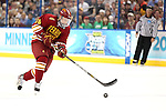 07 APR 2012:  Kyle Bonis (28) of Ferris State University races towards the Boston College goal during the Division I Men's Ice Hockey Championship held at the Tampa Bay Times Forum in Tampa, FL.  Boston College defeated Ferris State 4-1 to win the national title.  Matt Marriott/NCAA Photos