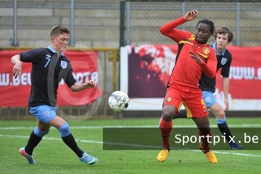 Belgium U19 - England U19 : Maximilian Clayton (7) and Nathan Kabasele (9).foto DAVID CATRY / Nikonpro.be