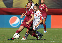 COLLEGE PARK, MD - OCTOBER 21, 2012:  Domenica Hodak (2) of the University of Maryland tries to catch Isabella Schmid (11) of Florida State during an ACC women's match at Ludwig Field in College Park, MD. on October 21. Florida won 1-0.