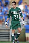 09 September 2011: Duke's James Belshaw (ENG). The University of Virginia Cavaliers defeated the Duke University Blue Devils 1-0 at Koskinen Stadium in Durham, North Carolina in an NCAA Division I Men's Soccer game.