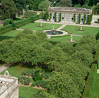 Aerial view of the formal garden laid out in front of the orangery at Longleat